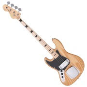 VINTAGE VJ74 LEFT HAND BASS - MAPLE BOARD - NATURAL ASH BODY